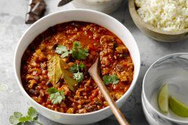 Foto van Kalkoen chili met couscous van bloemkool