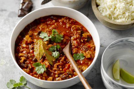 Kalkoen chili met couscous van bloemkool