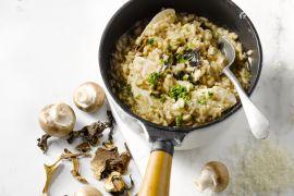 Foto van Kip met een risotto van champignons