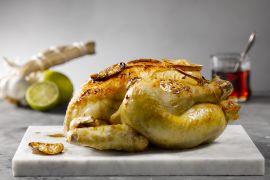 Foto van Geroosterde kip met citroen en maple syrup