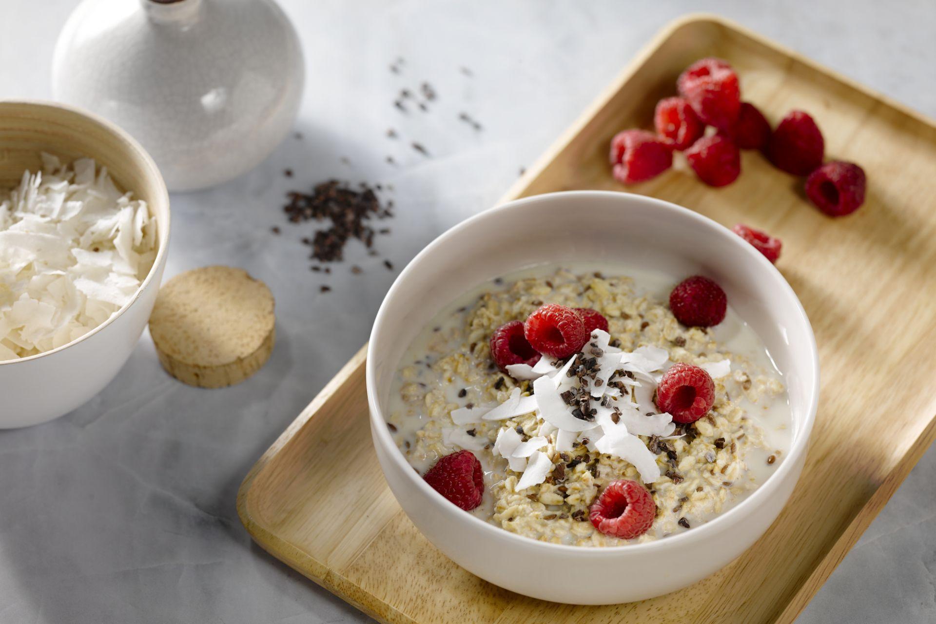 Overnight oats met frambozen