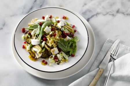 Freekeh salade met geitenkaas en aubergine