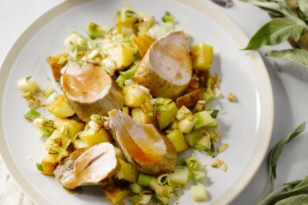 Varkenshaasje met salie, appel en hazelnoot