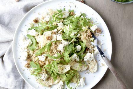 Quinoa waldorf salade met feta