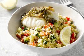 Foto van Kabeljauw met citroen-kappertjessaus en couscous
