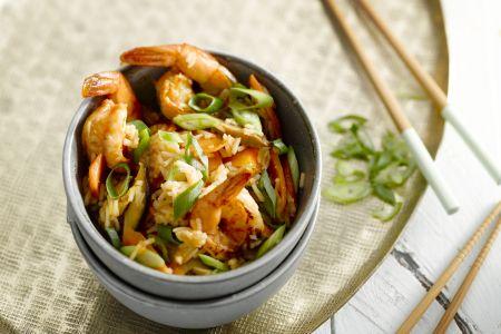 Scampi met rijst in de wok