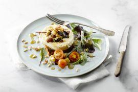 Foto van Salade van lauwe geitenkaas, spekjes en appel