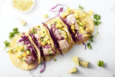 Taco's met kokoszalm en mangosalsa