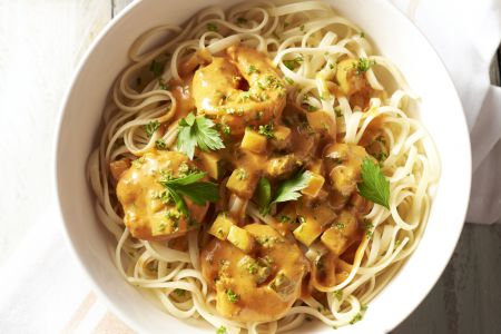 Pasta scampi in romige currysaus