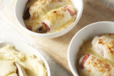 Witloofrolletjes met ham en kaas