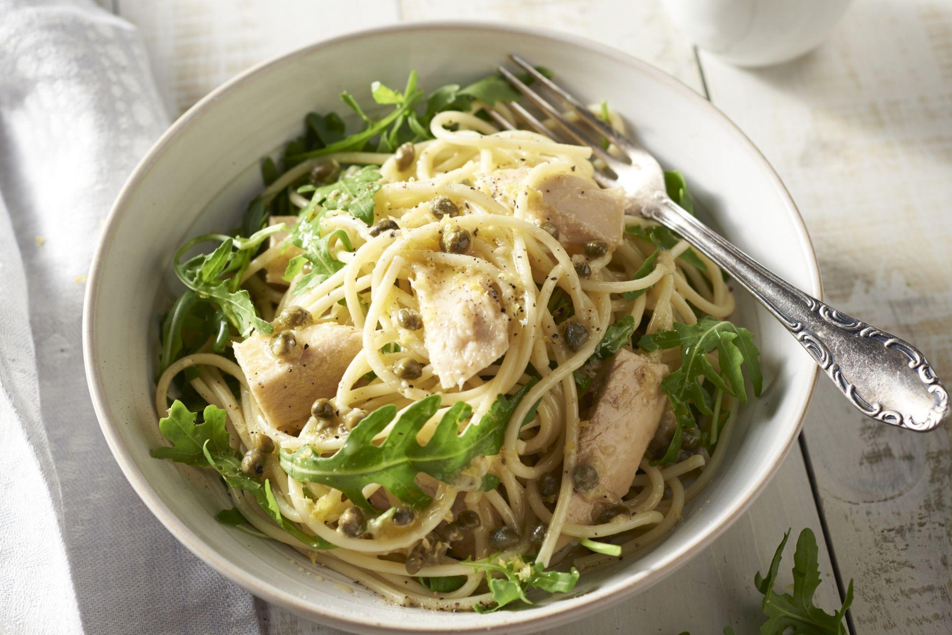 Spaghetti met tonijn en citroen