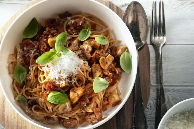 Spaghetti met snelle ragusaus