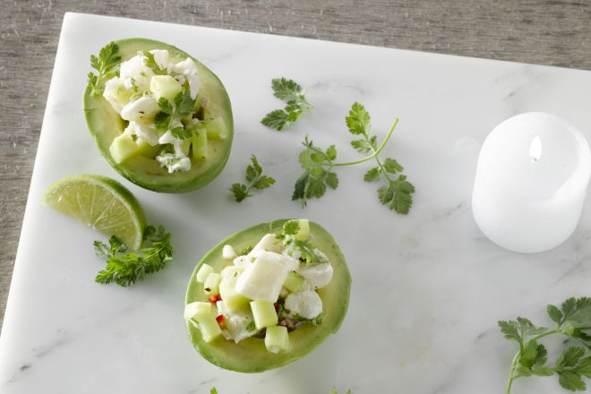 Gevulde avocado met ceviche