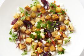 Foto van Geroosterde groenten met ahornsiroop, chili en feta