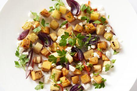 Geroosterde groenten met ahornsiroop, chili en feta