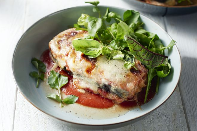Aubergine parmigiana met kalfsvlees