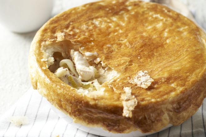 Engelse 'pie' met kip en prei