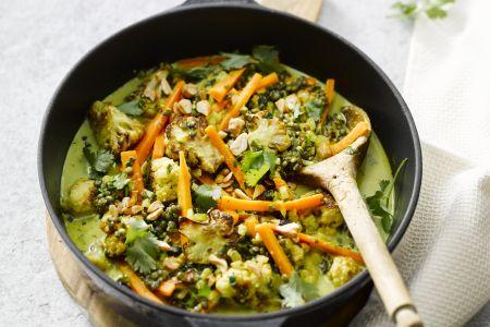 Indiase groentecurry met linzen