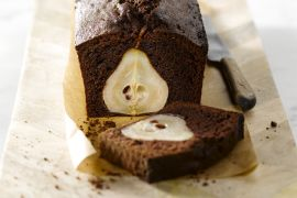 Foto van Chocoladecake met peren