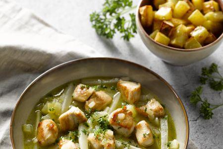 Kip met schorseneren en geroosterde patatjes