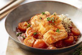 Foto van Kabeljauw in tomatensaus met quinoa