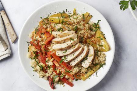 Bulgur met kip, paprika en worteltjes