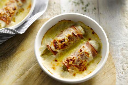 Witloof in de oven met hesp en kaas