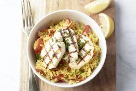Foto van Vegetarische paella met grillkaas