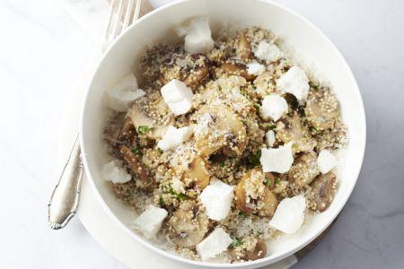 Risotto van quinoa met champignons en geitenkaas