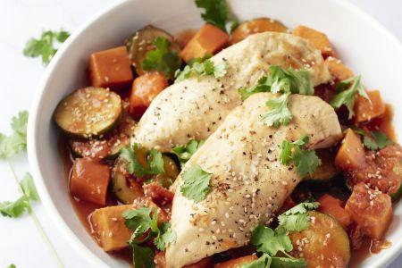 Kip en zoete aardappel uit de oven