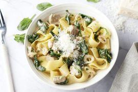 Foto van Pappardelle met kalfsvlees en spinazie