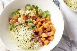 Foto van Ceviche met geroosterde zoete aardappelblokjes