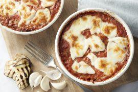 Foto van Lasagne van aubergine en mozzarella