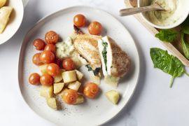 Foto van Gevulde kipfilet met spinazie en mozzarella
