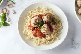 Foto van Italiaanse gehaktballetjes in tomatensaus