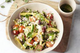 Foto van Griekse pastasalade