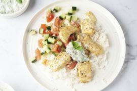Foto van Tandoori vis met muntraita en rijst