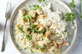 Foto van Kipfricassee met worteltjes en champignons