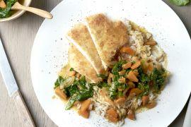 Foto van Kip Katsu met wortel en spinazie