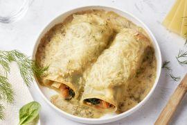 Foto van Cannelloni met zalm en spinazie