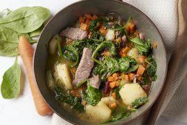 Foto van Snel stoofpotje van runderreepjes, wortel en spinazie
