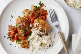 Foto van Baskische kip met rijst