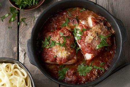 Italiaans vispannetje met kabeljauw
