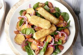 Foto van Fetakroketjes met geroosterde zoete aardappelsalade