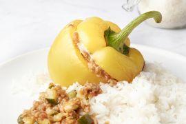 Foto van Gevulde paprika met gehakt en rijst