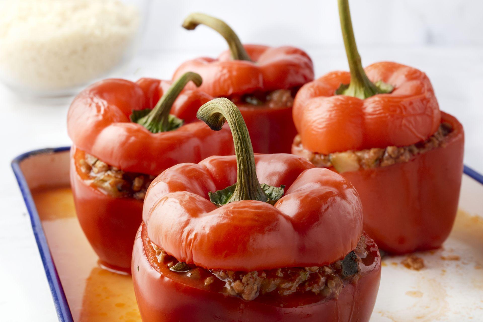 Gevulde paprika met gehakt en couscous