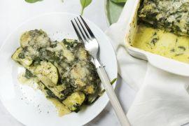 Foto van Lasagne met courgette, spinazie en oregano