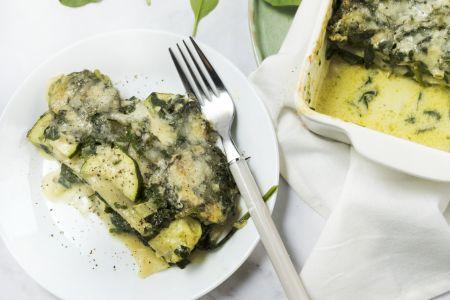 Lasagne met courgette, spinazie en oregano