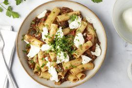 Foto van Tortiglioni met aubergine en mozzarella