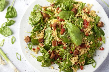 Couscous met chorizo en spinazie
